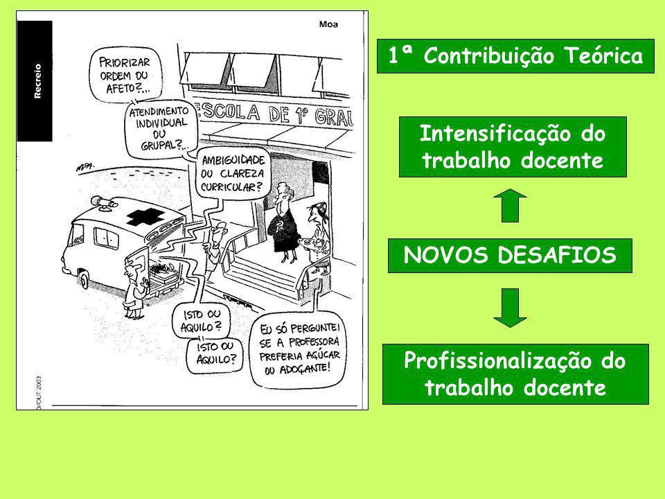 1ª Contribuição Teórica Intensificação do trabalho docente NOVOS DESAFIOS Profissionalização do trabalho docente