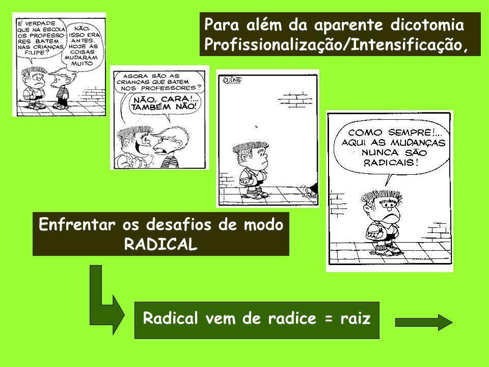 Para além da aparente dicotomia Profissionalização/Intensificação, Enfrentar os desafios de modo RADICAL Radical vem de radice = raiz