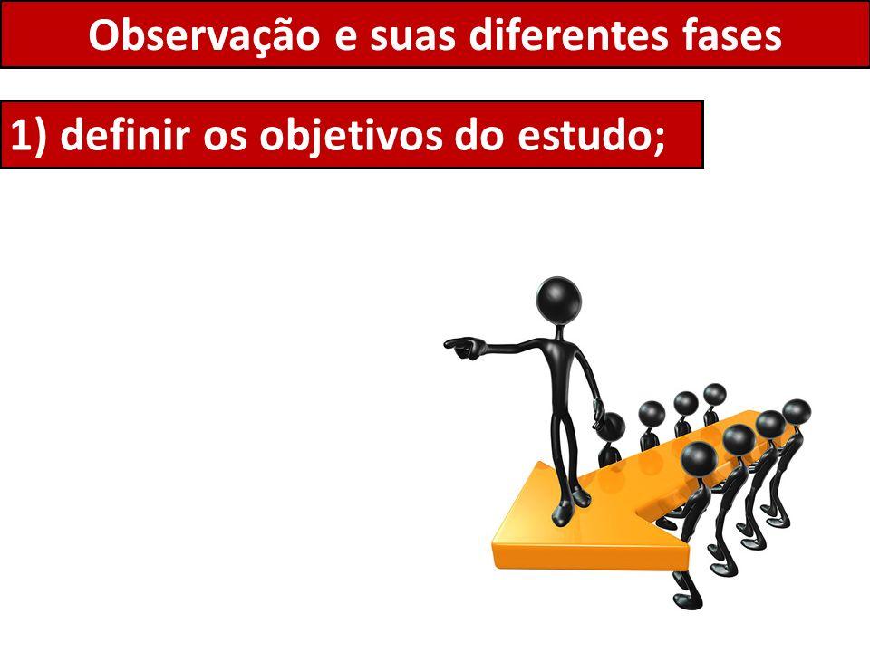 Observação e suas diferentes fases 1) definir os objetivos do estudo;