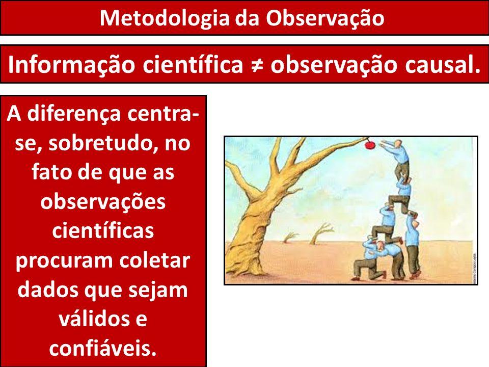 Metodologia da Observação Informação científica observação causal. A diferença centra- se, sobretudo, no fato de que as observações científicas procur