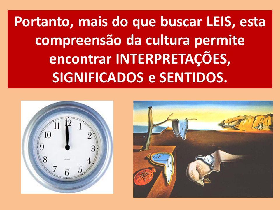 Portanto, mais do que buscar LEIS, esta compreensão da cultura permite encontrar INTERPRETAÇÕES, SIGNIFICADOS e SENTIDOS.