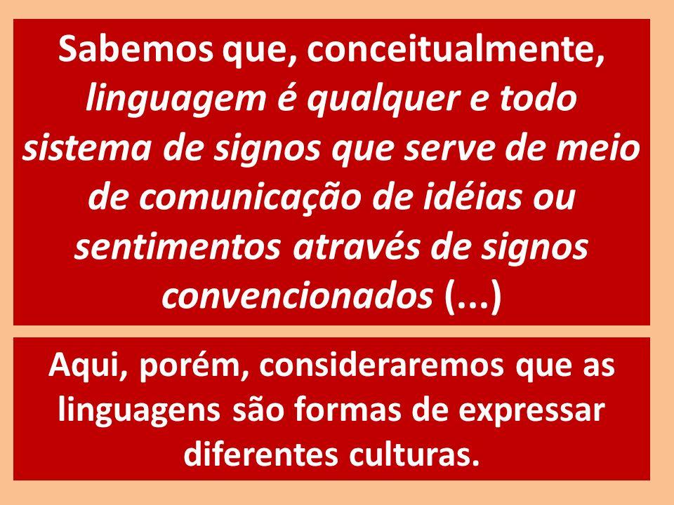 Aqui, porém, consideraremos que as linguagens são formas de expressar diferentes culturas. Sabemos que, conceitualmente, linguagem é qualquer e todo s