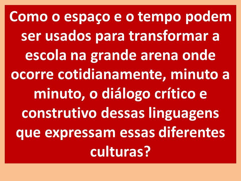 Como o espaço e o tempo podem ser usados para transformar a escola na grande arena onde ocorre cotidianamente, minuto a minuto, o diálogo crítico e co