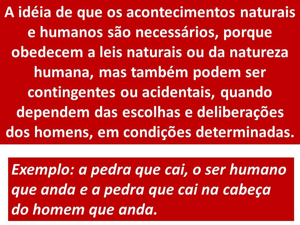 A idéia de que os acontecimentos naturais e humanos são necessários, porque obedecem a leis naturais ou da natureza humana, mas também podem ser conti