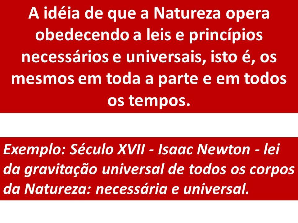A idéia de que a Natureza opera obedecendo a leis e princípios necessários e universais, isto é, os mesmos em toda a parte e em todos os tempos. Exemp