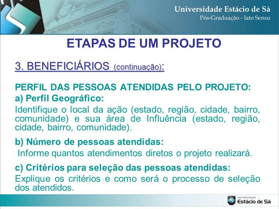 3. BENEFICIÁRIOS (continuação) : PERFIL DAS PESSOAS ATENDIDAS PELO PROJETO: a) Perfil Geográfico: Identifique o local da ação (estado, região, cidade,