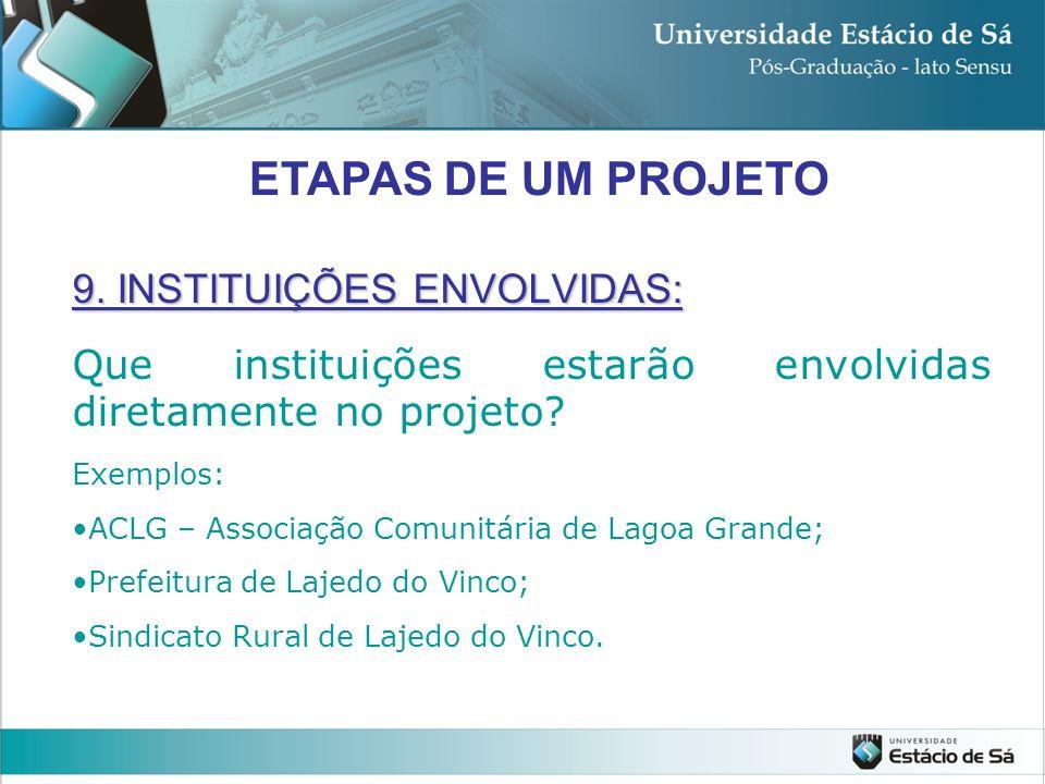 9. INSTITUIÇÕES ENVOLVIDAS: Que instituições estarão envolvidas diretamente no projeto? Exemplos: ACLG – Associação Comunitária de Lagoa Grande; Prefe