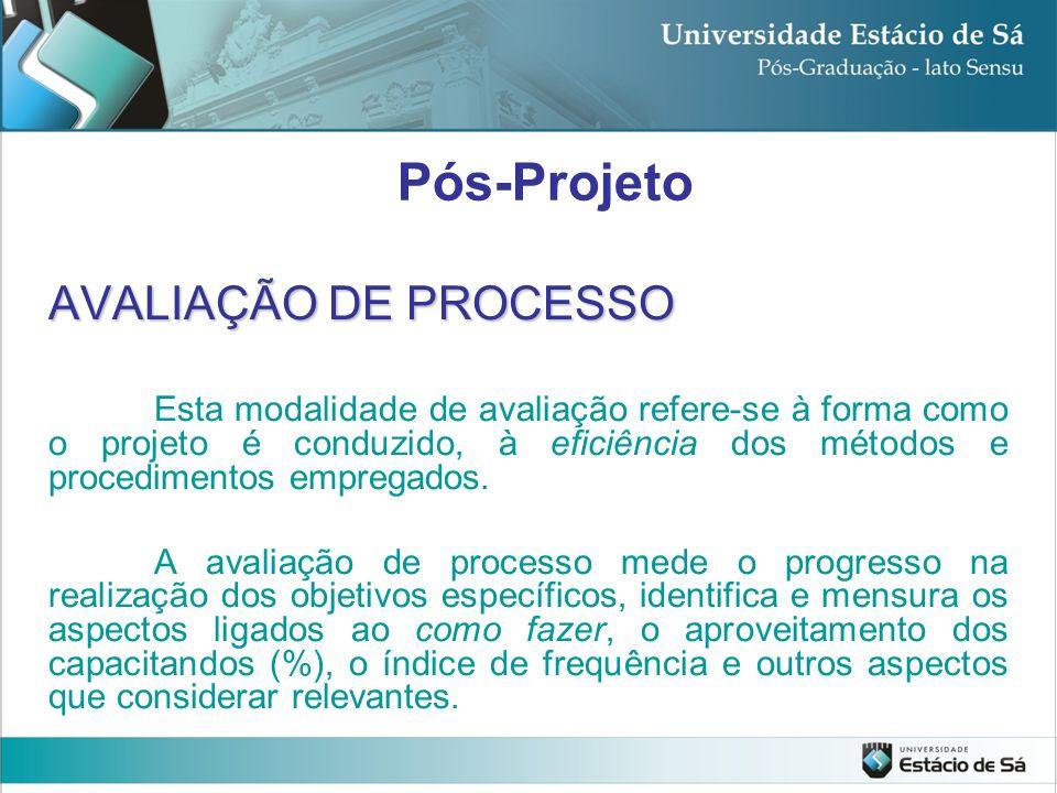 AVALIAÇÃO DE PROCESSO Esta modalidade de avaliação refere-se à forma como o projeto é conduzido, à eficiência dos métodos e procedimentos empregados.