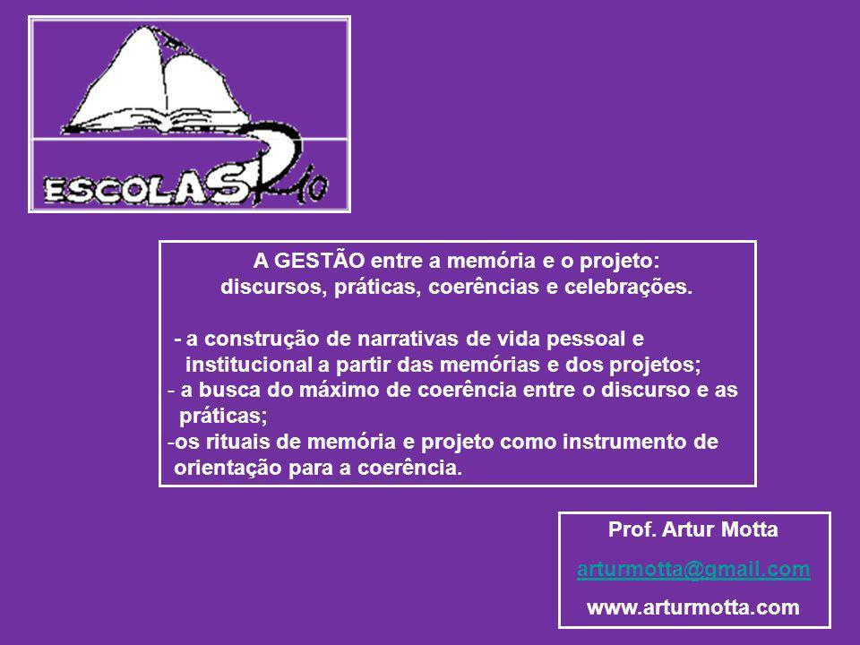 Prof. Artur Motta arturmotta@gmail.com www.arturmotta.com A GESTÃO entre a memória e o projeto: discursos, práticas, coerências e celebrações. - a con