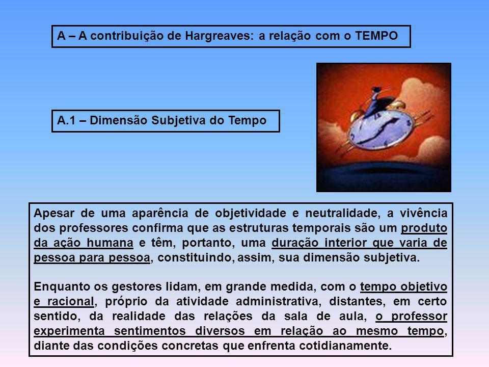 A – A contribuição de Hargreaves: a relação com o TEMPO A.1 – Dimensão Subjetiva do Tempo Apesar de uma aparência de objetividade e neutralidade, a vi