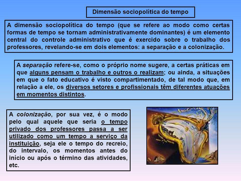 Dimensão sociopolítica do tempo A dimensão sociopolítica do tempo (que se refere ao modo como certas formas de tempo se tornam administrativamente dom