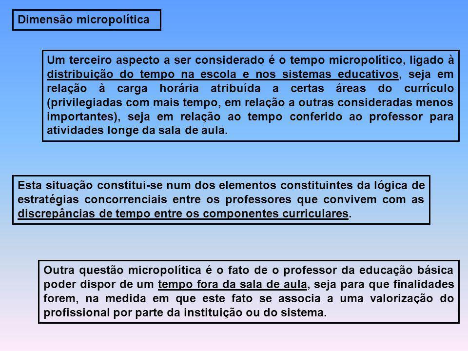 Dimensão micropolítica Um terceiro aspecto a ser considerado é o tempo micropolítico, ligado à distribuição do tempo na escola e nos sistemas educativ