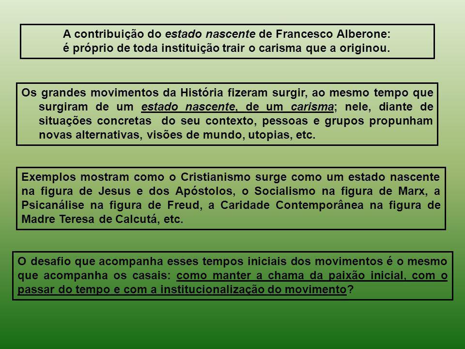 A contribuição do estado nascente de Francesco Alberone: é próprio de toda instituição trair o carisma que a originou. Os grandes movimentos da Histór