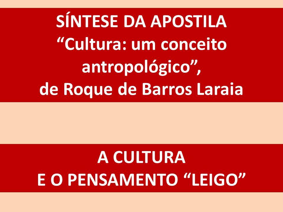 SÍNTESE DA APOSTILA Cultura: um conceito antropológico, de Roque de Barros Laraia A CULTURA E O PENSAMENTO LEIGO