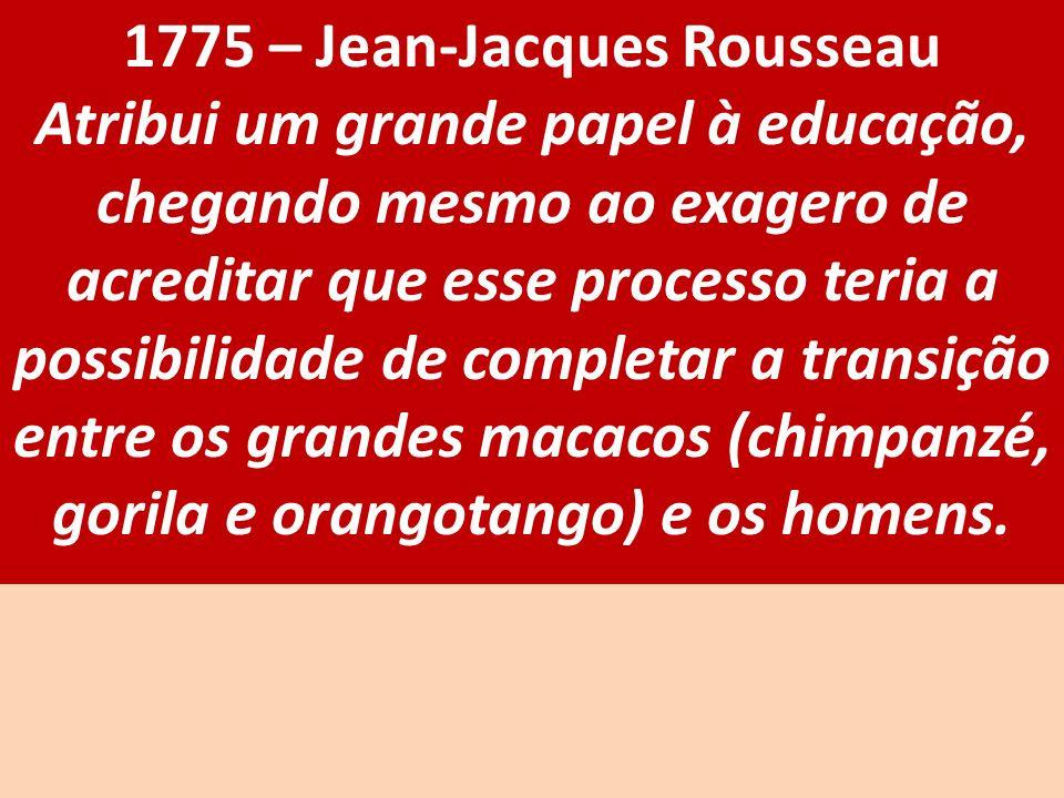 1775 – Jean-Jacques Rousseau Atribui um grande papel à educação, chegando mesmo ao exagero de acreditar que esse processo teria a possibilidade de com
