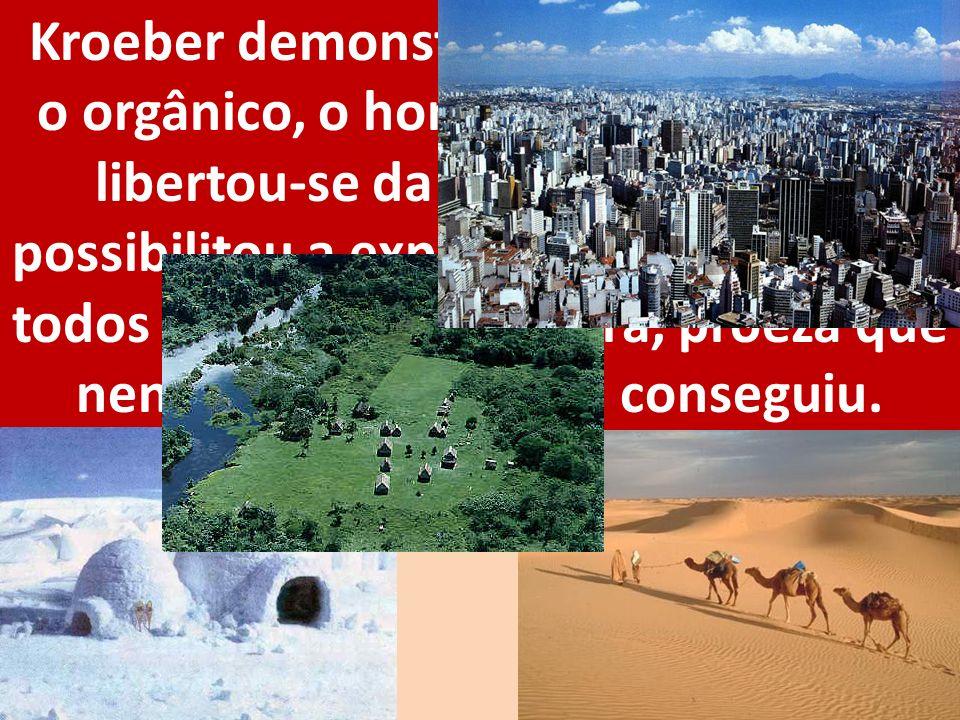 Kroeber demonstrou que, superando o orgânico, o homem de certa forma libertou-se da natureza. Tal fato possibilitou a expansão da espécie por todos os