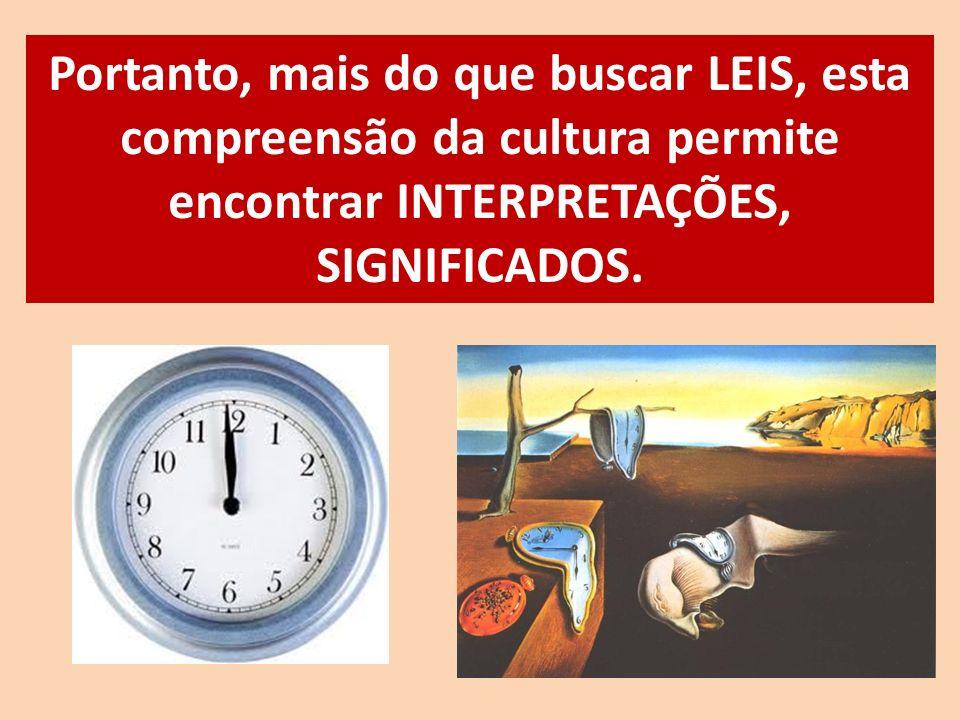Portanto, mais do que buscar LEIS, esta compreensão da cultura permite encontrar INTERPRETAÇÕES, SIGNIFICADOS.