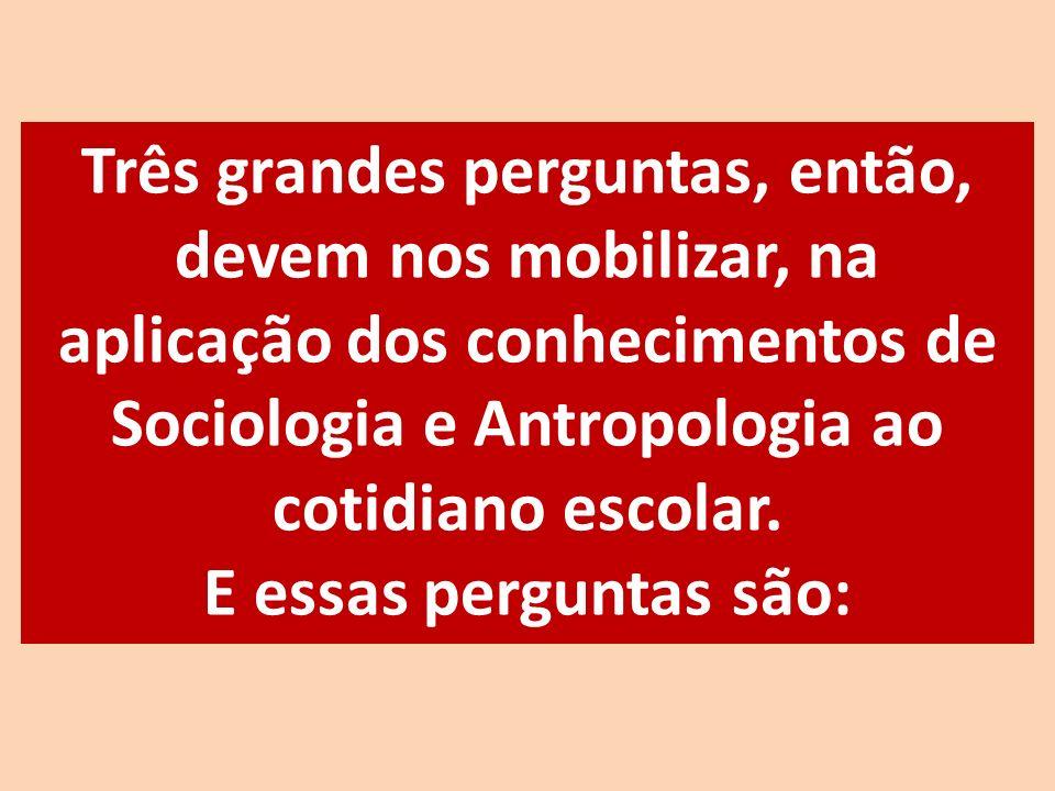 Três grandes perguntas, então, devem nos mobilizar, na aplicação dos conhecimentos de Sociologia e Antropologia ao cotidiano escolar. E essas pergunta