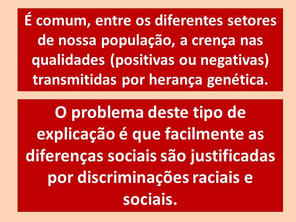 É comum, entre os diferentes setores de nossa população, a crença nas qualidades (positivas ou negativas) transmitidas por herança genética. O problem