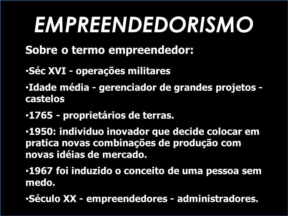 EMPREENDEDORISMO Sobre o termo empreendedor: Séc XVI - operações militares Idade média - gerenciador de grandes projetos - castelos 1765 - proprietári