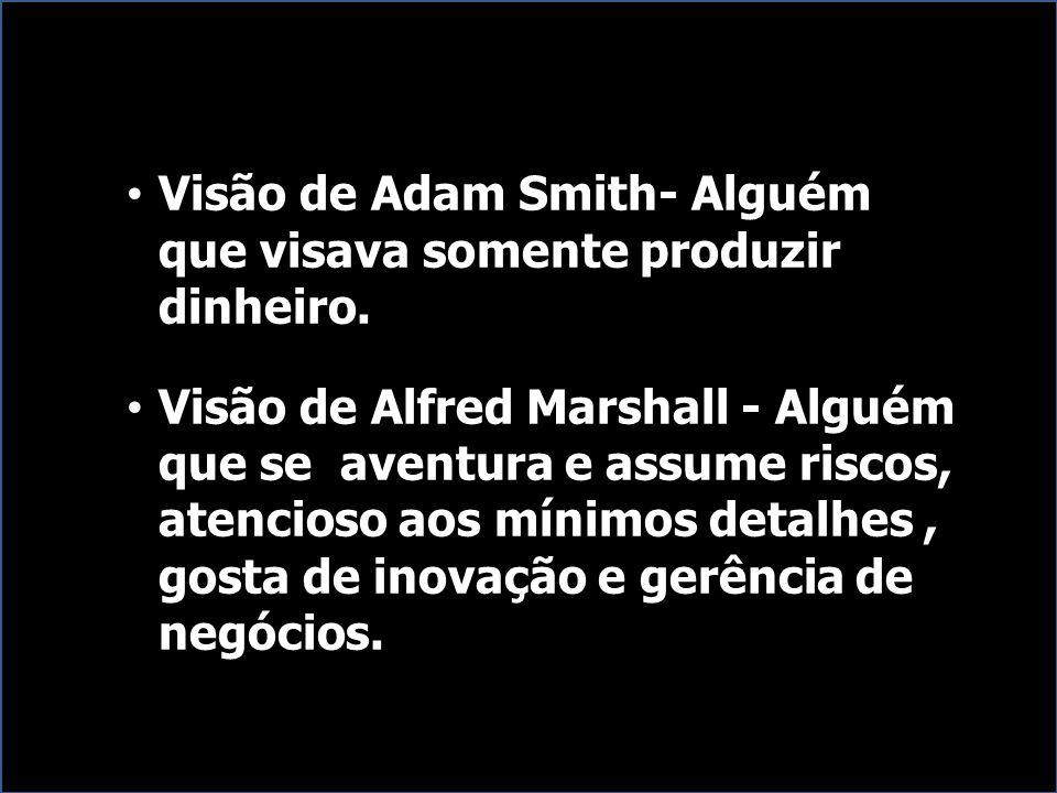 Visão de Adam Smith- Alguém que visava somente produzir dinheiro. Visão de Alfred Marshall - Alguém que se aventura e assume riscos, atencioso aos mín
