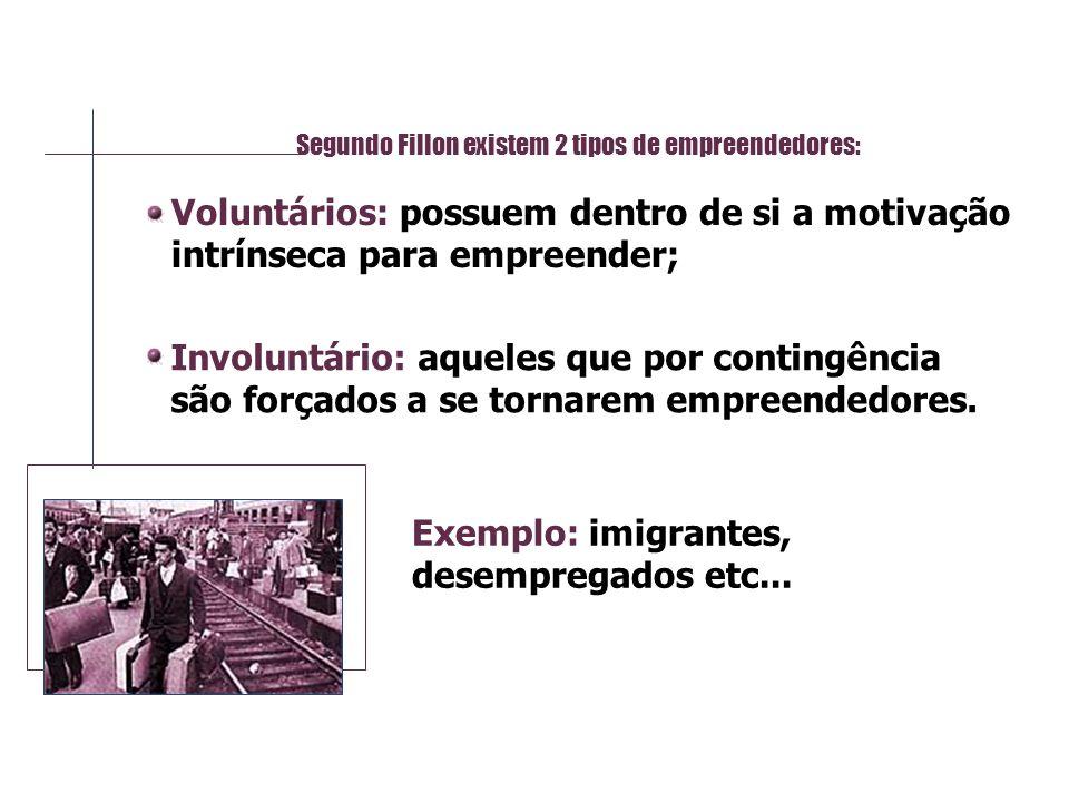 Segundo Fillon existem 2 tipos de empreendedores: Voluntários: possuem dentro de si a motivação intrínseca para empreender; Involuntário: aqueles que