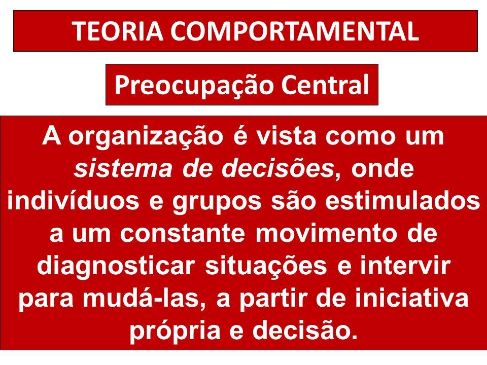 TEORIA COMPORTAMENTAL Preocupação Central A organização é vista como um sistema de decisões, onde indivíduos e grupos são estimulados a um constante m