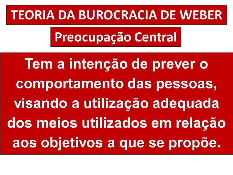 TEORIA DA BUROCRACIA DE WEBER Preocupação Central Tem a intenção de prever o comportamento das pessoas, visando a utilização adequada dos meios utiliz