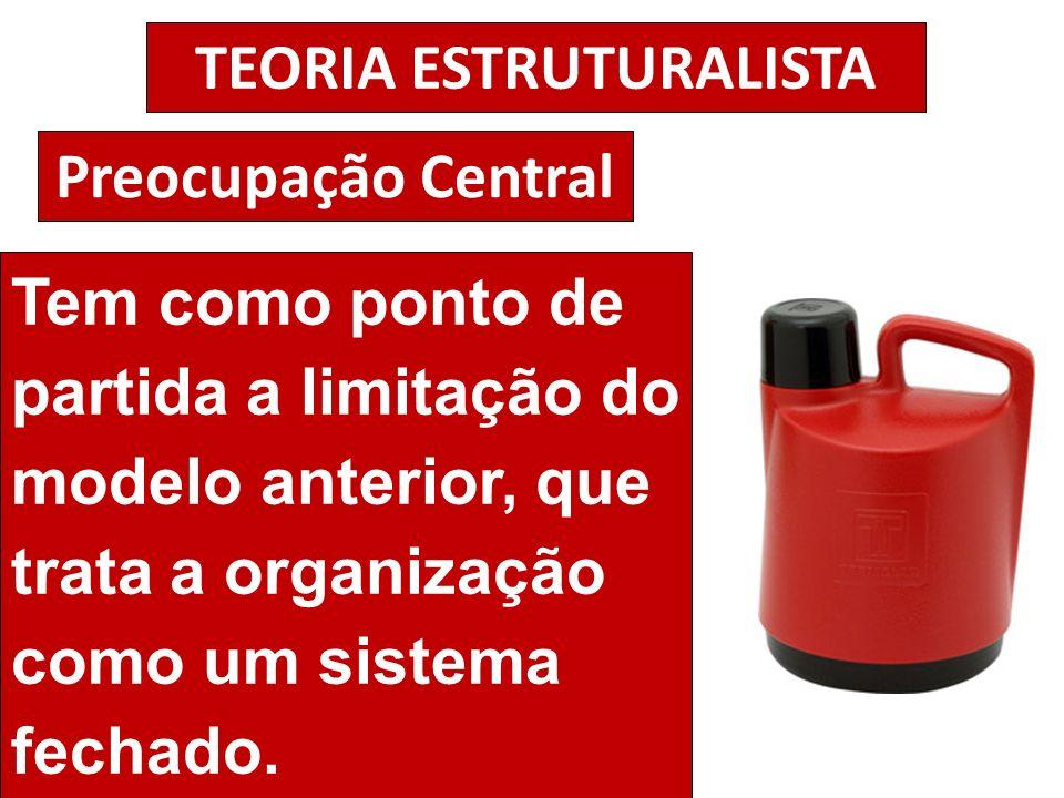 TEORIA ESTRUTURALISTA Preocupação Central Tem como ponto de partida a limitação do modelo anterior, que trata a organização como um sistema fechado.