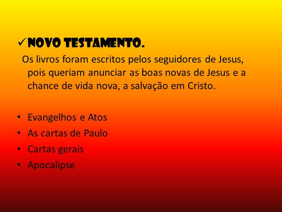 Novo testamento. Os livros foram escritos pelos seguidores de Jesus, pois queriam anunciar as boas novas de Jesus e a chance de vida nova, a salvação