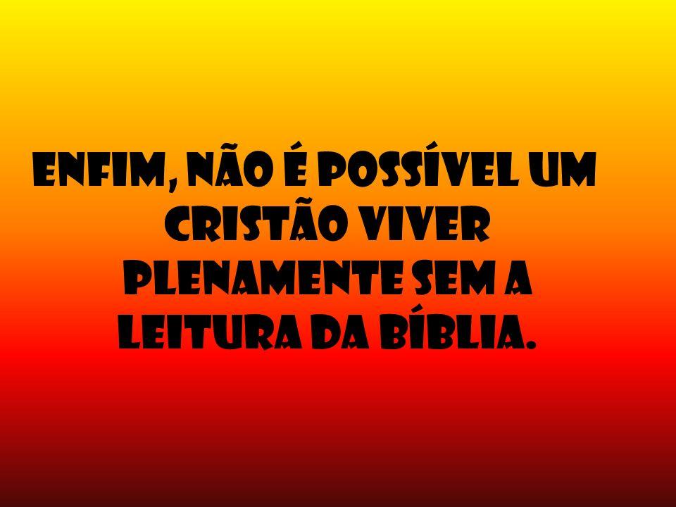 Enfim, não é possível um cristão viver plenamente sem a leitura da Bíblia.
