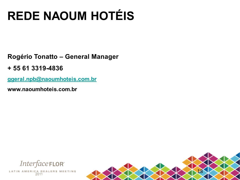 2011 18 REDE NAOUM HOTÉIS Rogério Tonatto – General Manager + 55 61 3319-4836 ggeral.npb@naoumhoteis.com.br www.naoumhoteis.com.br
