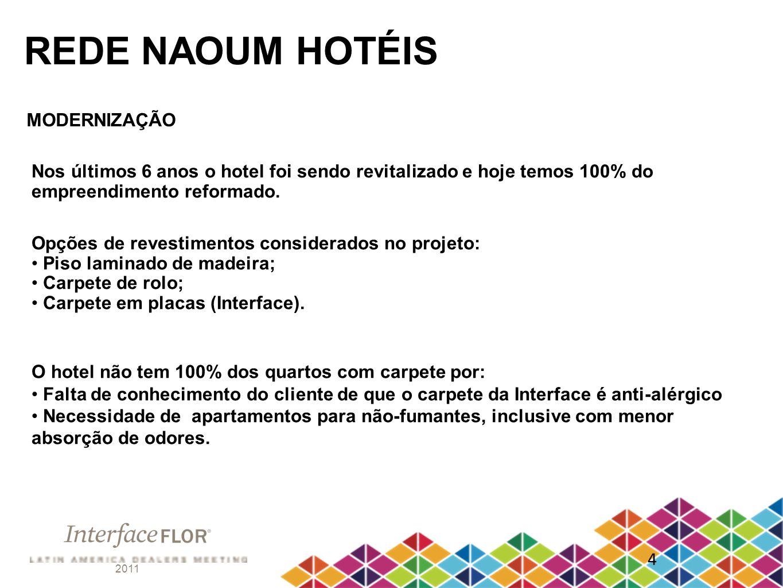 2011 4 REDE NAOUM HOTÉIS MODERNIZAÇÃO Nos últimos 6 anos o hotel foi sendo revitalizado e hoje temos 100% do empreendimento reformado. Opções de reves