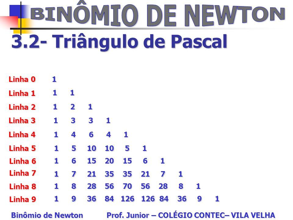 3.2- Triângulo de Pascal Linha 0 Linha 1 Linha 9 Linha 2 Linha 8 Linha 3 Linha 4 Linha 5 Linha 6 Linha 7 1 1 1 1 2 1 1 3 3 1 1 4 6 4 1 1 5 10 10 5 1 1
