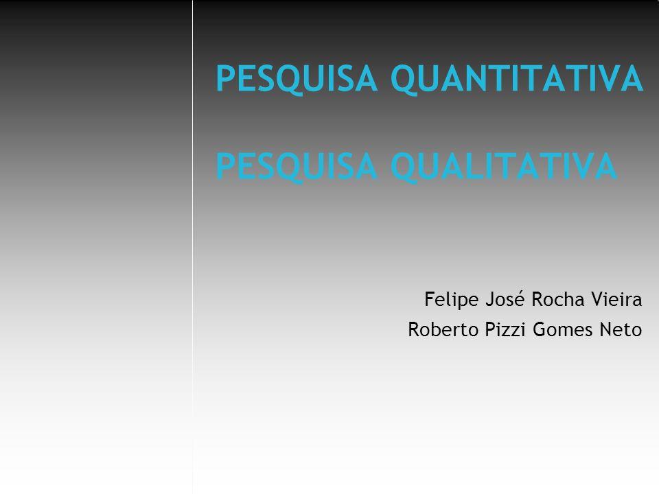 PESQUISA QUANTITATIVA PESQUISA QUALITATIVA Felipe José Rocha Vieira Roberto Pizzi Gomes Neto