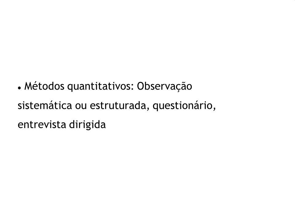 Métodos quantitativos: Observação sistemática ou estruturada, questionário, entrevista dirigida