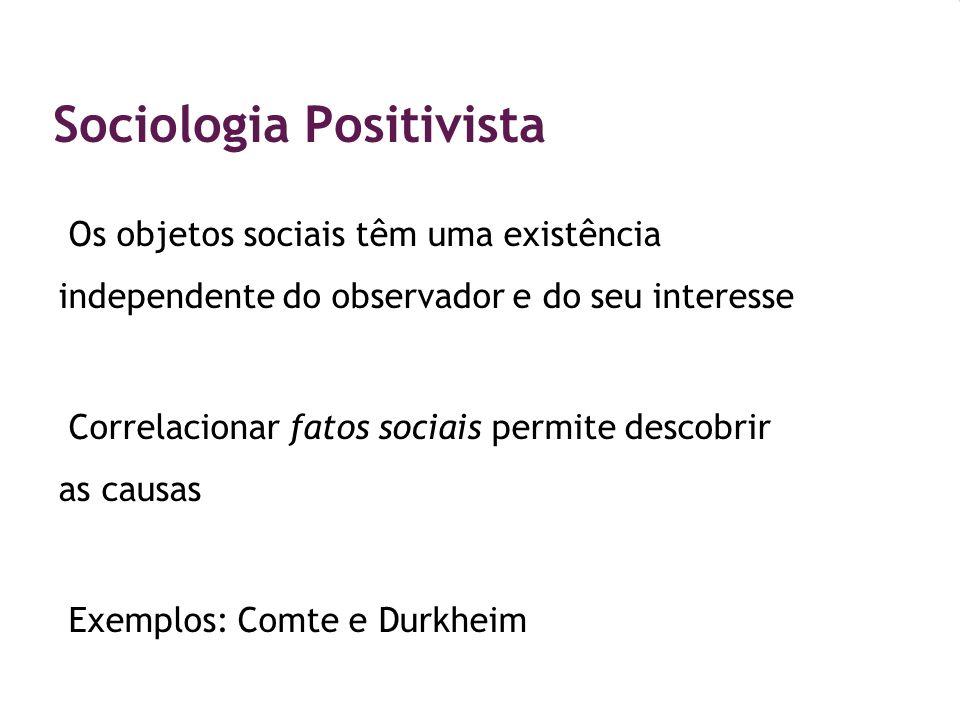 Sociologia Positivista Os objetos sociais têm uma existência independente do observador e do seu interesse Correlacionar fatos sociais permite descobr