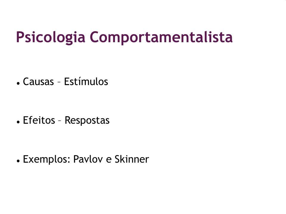 Psicologia Comportamentalista Causas – Estímulos Efeitos – Respostas Exemplos: Pavlov e Skinner