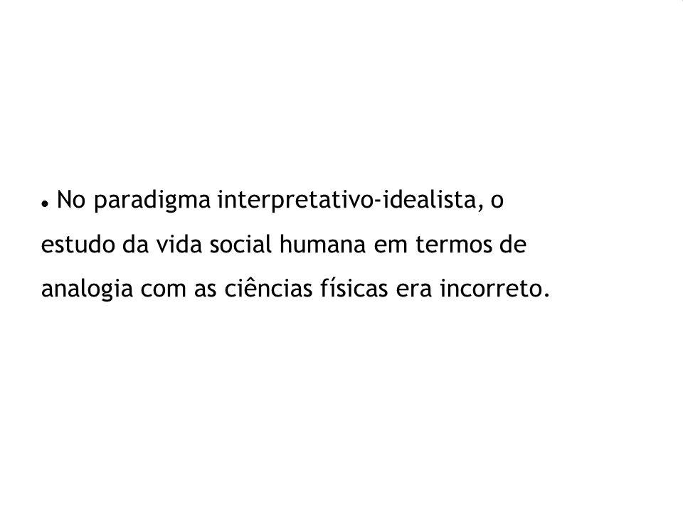 No paradigma interpretativo-idealista, o estudo da vida social humana em termos de analogia com as ciências físicas era incorreto.