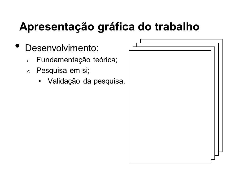 Apresentação gráfica do trabalho Desenvolvimento: o Fundamentação teórica; o Pesquisa em si; Validação da pesquisa.