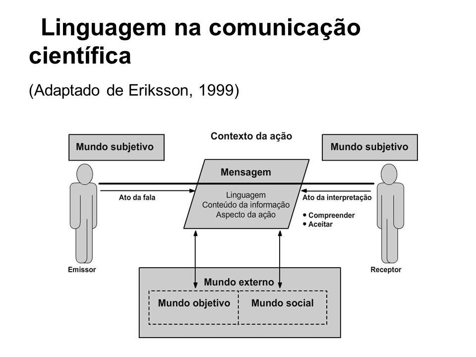 Linguagem na comunicação científica (Adaptado de Eriksson, 1999)