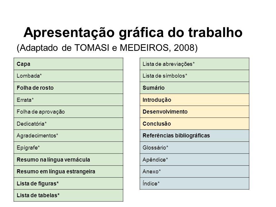 Apresentação gráfica do trabalho (Adaptado de TOMASI e MEDEIROS, 2008) Capa Lombada* Folha de rosto Errata* Folha de aprovação Dedicatória* Agradecime