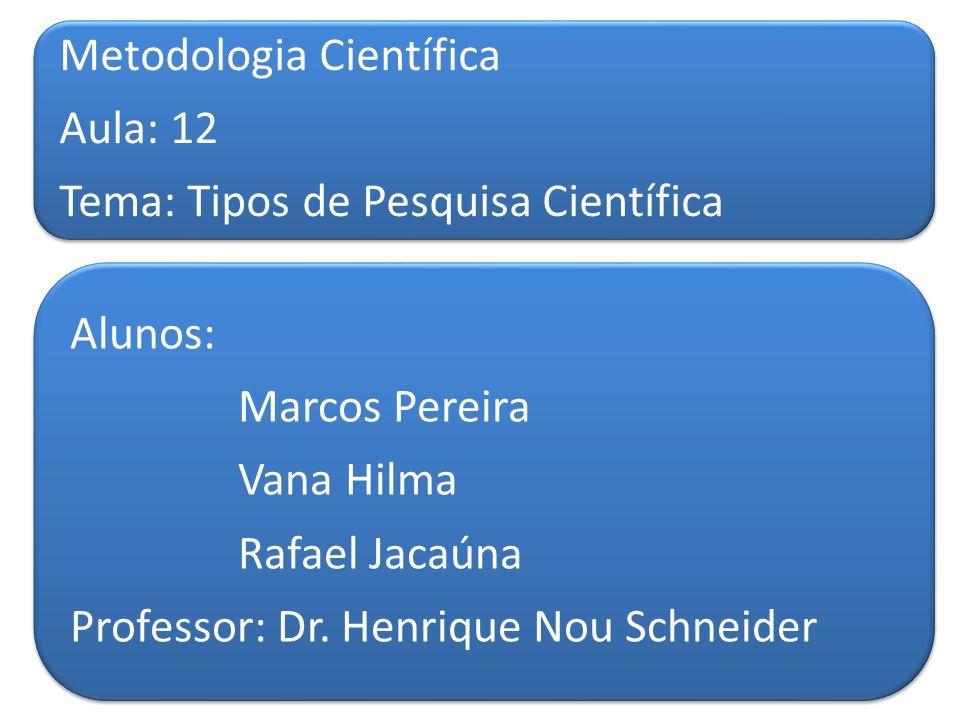 Metodologia Científica Aula: 12 Tema: Tipos de Pesquisa Científica Alunos: Marcos Pereira Vana Hilma Rafael Jacaúna Professor: Dr. Henrique Nou Schnei