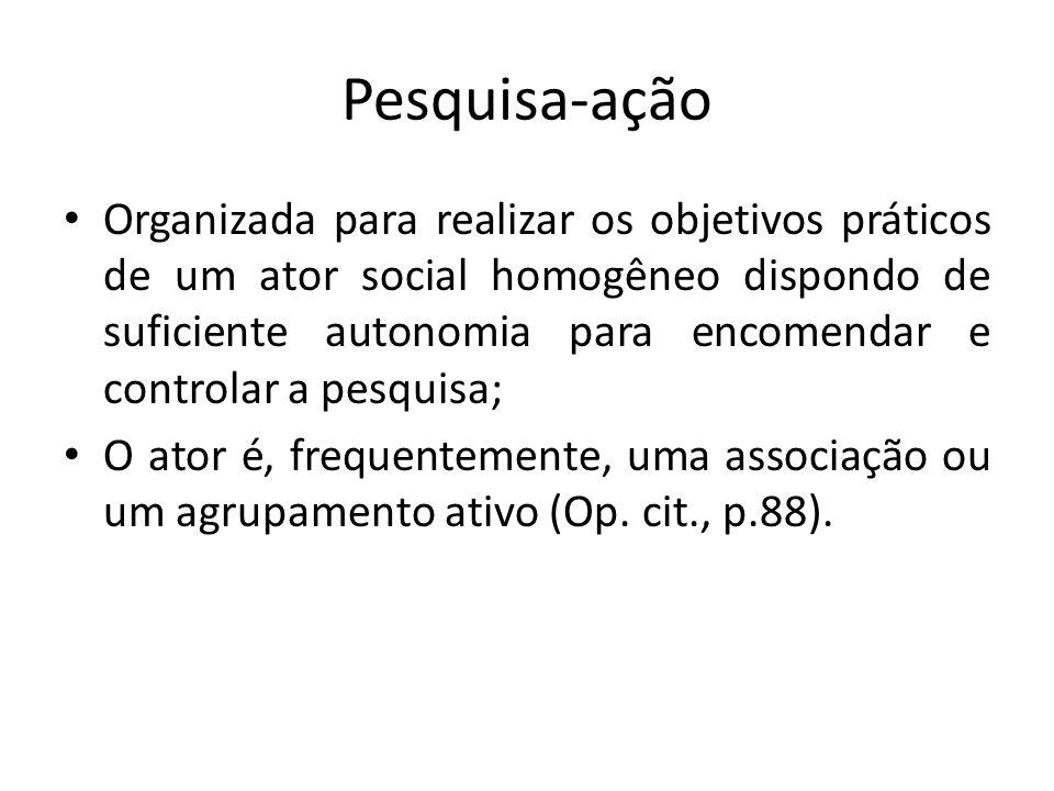 Pesquisa-ação Organizada para realizar os objetivos práticos de um ator social homogêneo dispondo de suficiente autonomia para encomendar e controlar