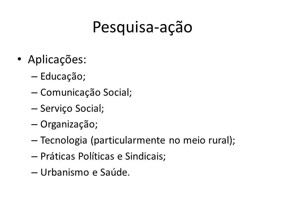 Pesquisa-ação Aplicações: – Educação; – Comunicação Social; – Serviço Social; – Organização; – Tecnologia (particularmente no meio rural); – Práticas