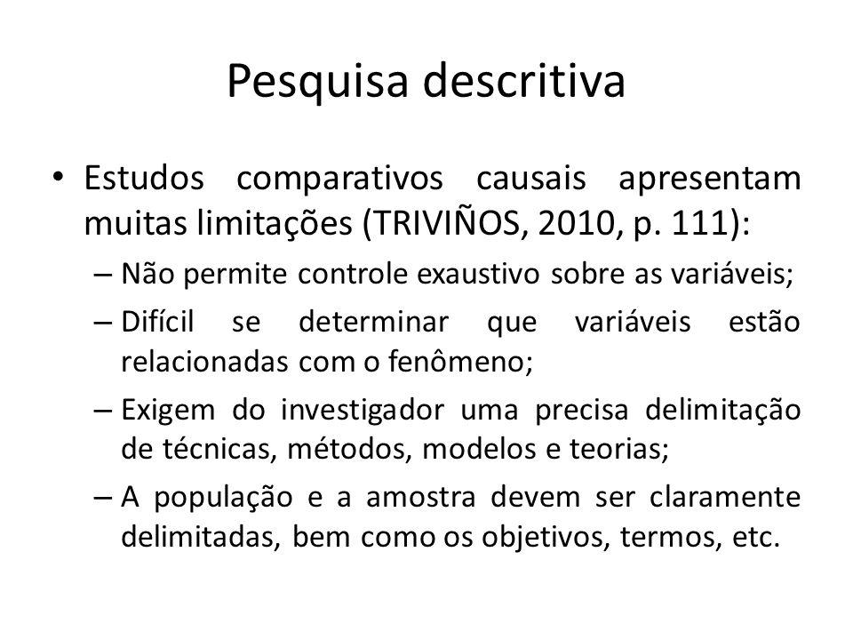 Pesquisa descritiva Estudos comparativos causais apresentam muitas limitações (TRIVIÑOS, 2010, p. 111): – Não permite controle exaustivo sobre as vari