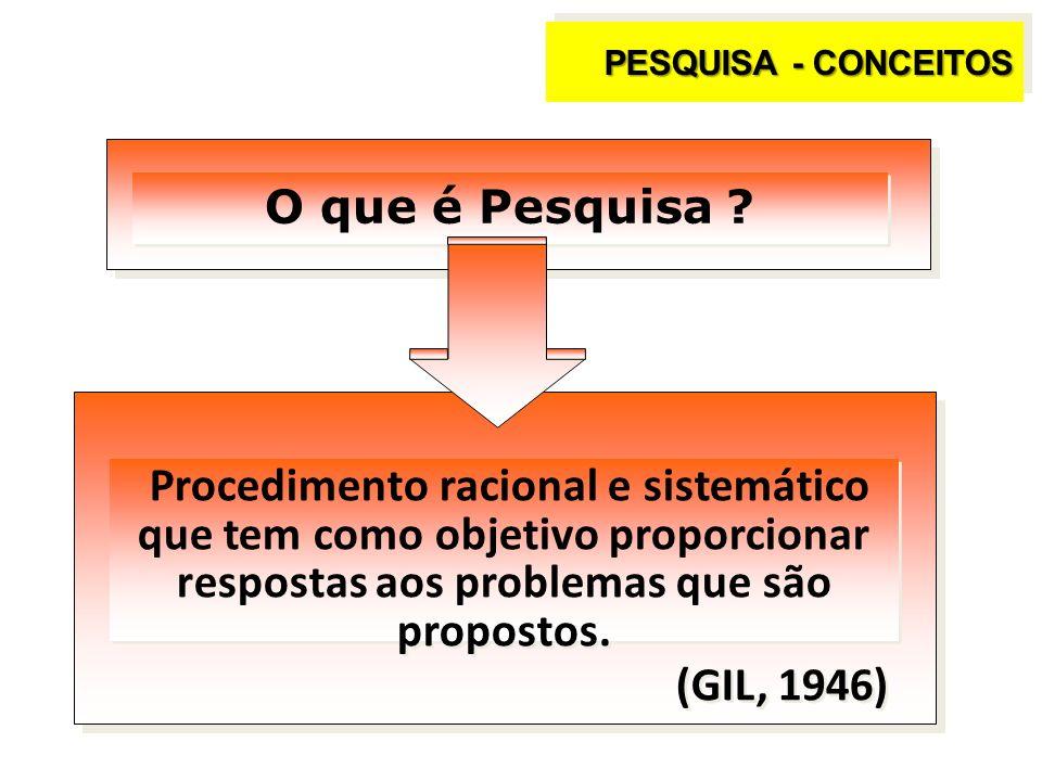 PESQUISA - CONCEITOS O que é Pesquisa ? Procedimento racional e sistemático que tem como objetivo proporcionar respostas aos problemas que são propost