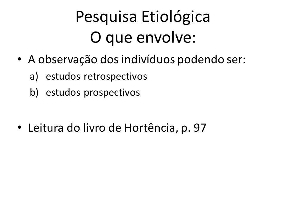 Pesquisa Etiológica O que envolve: A observação dos indivíduos podendo ser: a)estudos retrospectivos b)estudos prospectivos Leitura do livro de Hortên