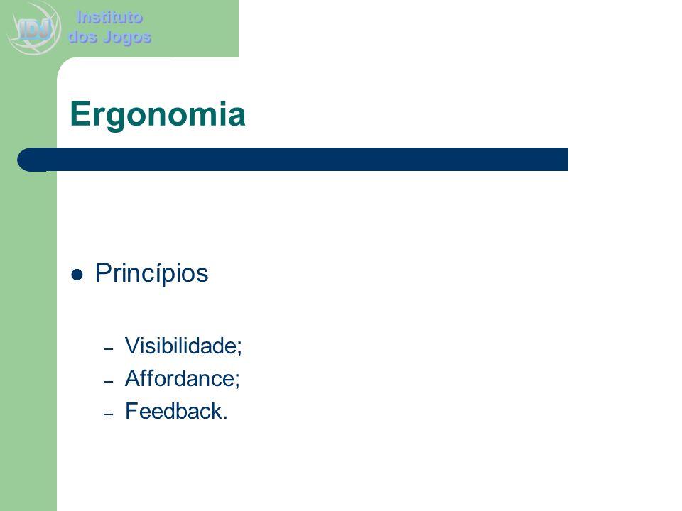 Ergonomia Princípios – Visibilidade; – Affordance; – Feedback.