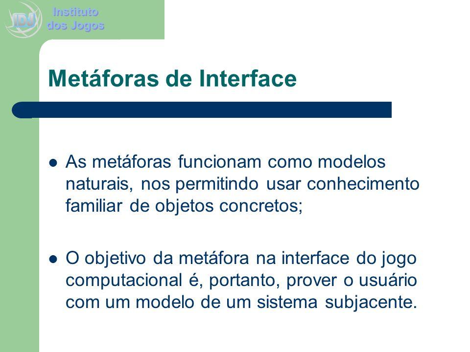 Metáforas de Interface As metáforas funcionam como modelos naturais, nos permitindo usar conhecimento familiar de objetos concretos; O objetivo da met